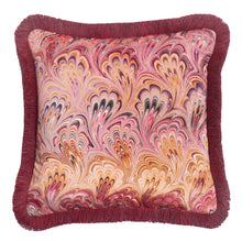 Load image into Gallery viewer, Ruched Blush Bouquet Marbled Velvet Small Square Cushion
