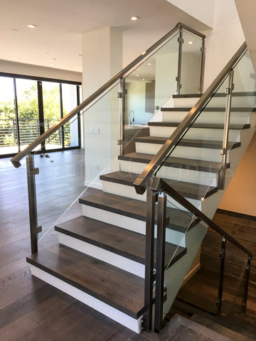 Chicago Square glass stair railing