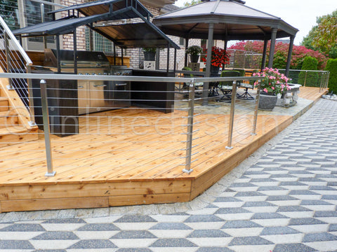 wood deck with stainless steel railing