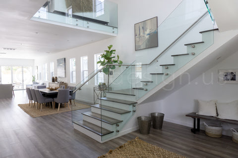 glass stair railing with Glass adapters