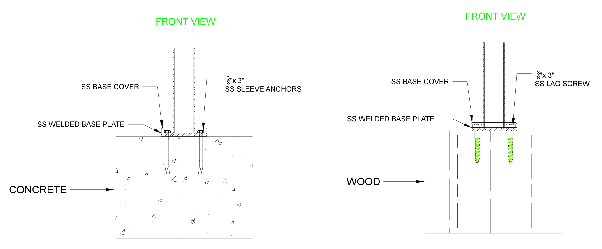 post flange drawing fastener mounting railing