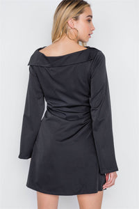 Straight Neck Front-Tie Dress