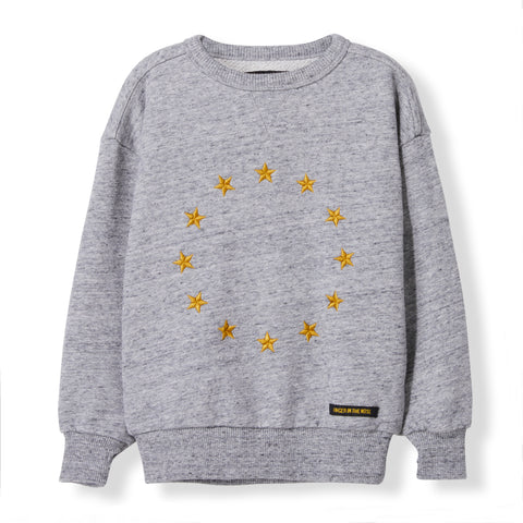 ACADEMY Heather Grey Stars -  Knitted Round Neck Sweatshirt
