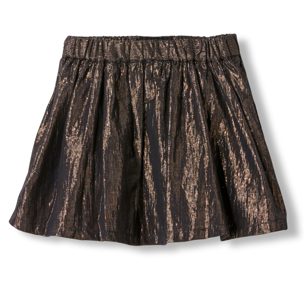 ANNIX Bronze Metal Stripes -  Woven Mini Skirt 1