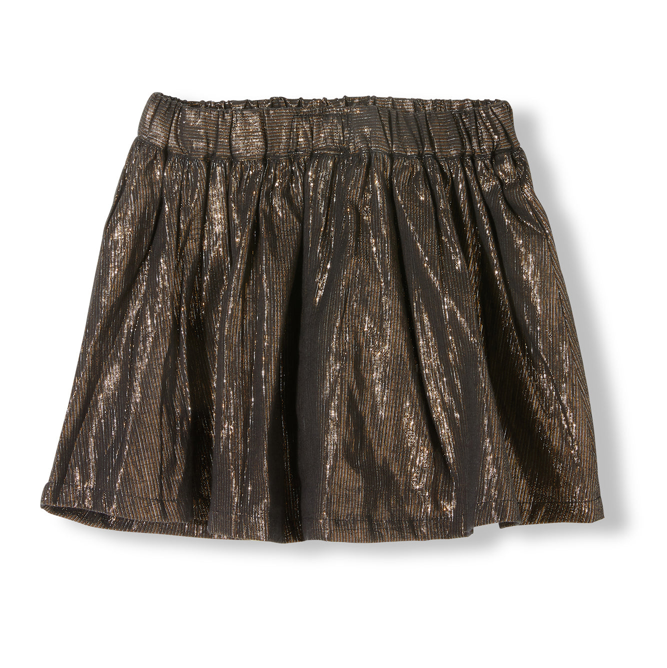 ANNIX Bronze Metal Stripes -  Woven Mini Skirt