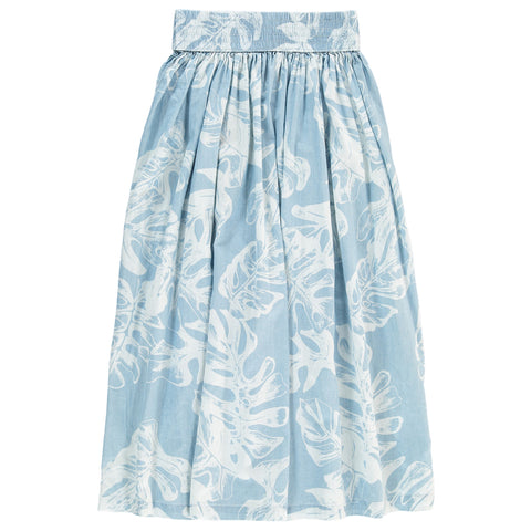 ASPENDALE Blue Denim Leafs - Girl Long Skirt