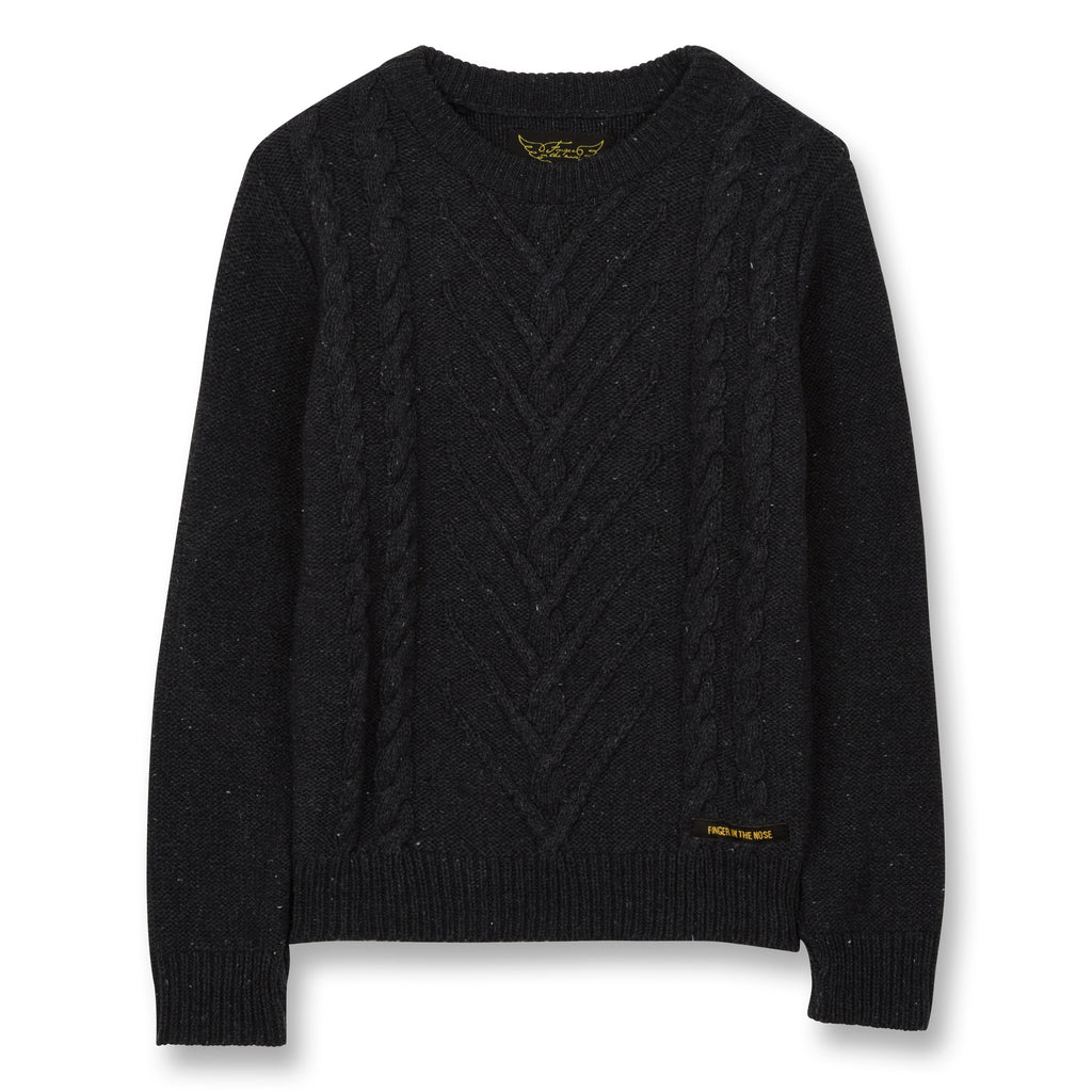 AVERY Anthracite - Round Neck Cable Jumper 1