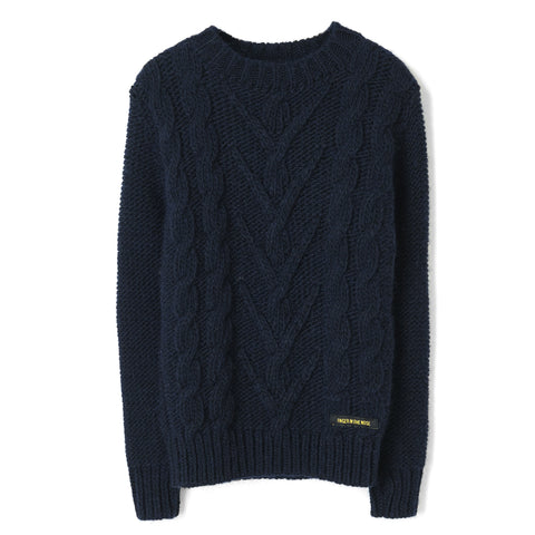 AVERY Navy - Round Neck Cable Sweater