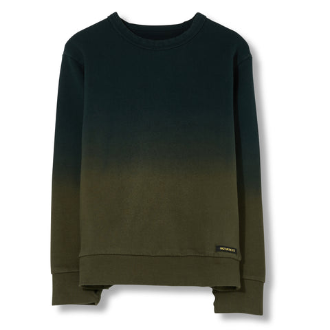 BRIAN Dark Khaki Dip Dye - Crew Neck Sweater