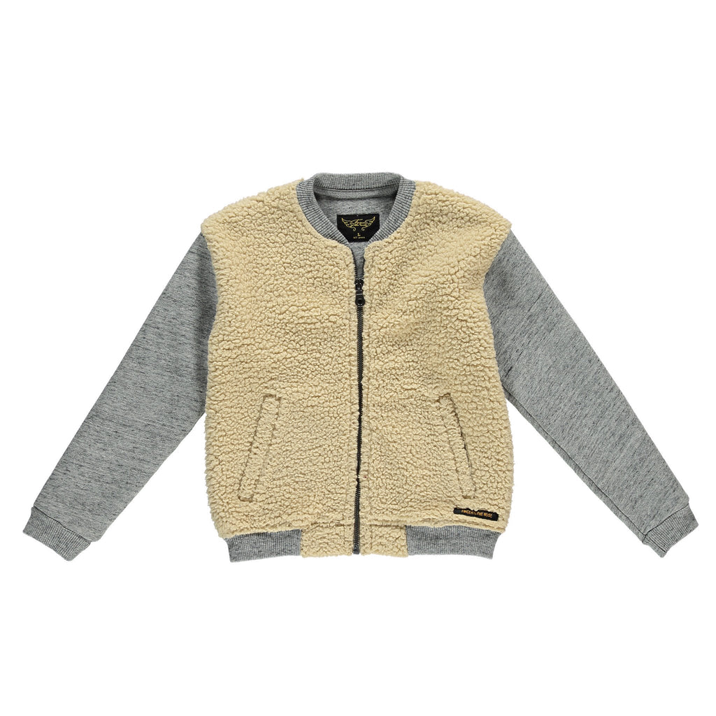 BEHAVIOR Heather Grey - Girls Knitted Zipped Sweater