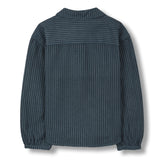 BETH Dark Blue Stripes - Oversized Long Sleeves Shirt 2