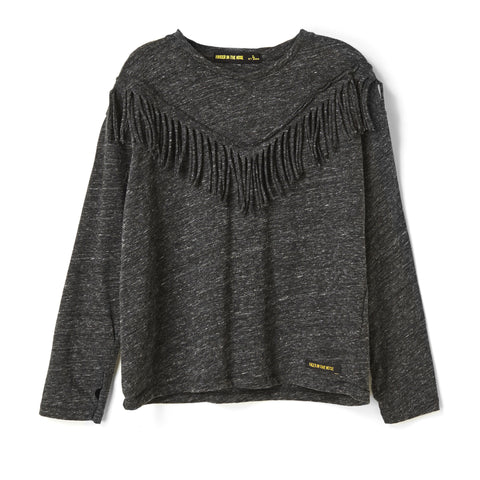 BIGTEE Heather Anthracite Fringes - Oversized Long Sleeves T-Shirt