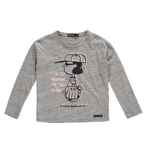 BIGTEE Heather Grey Lucy - Girls Knitted Oversized Long Sleeves T-Shirt