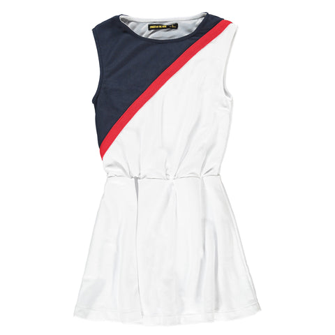 BOBBIE White/Navy - Girl Sleeveless Jersey Dress