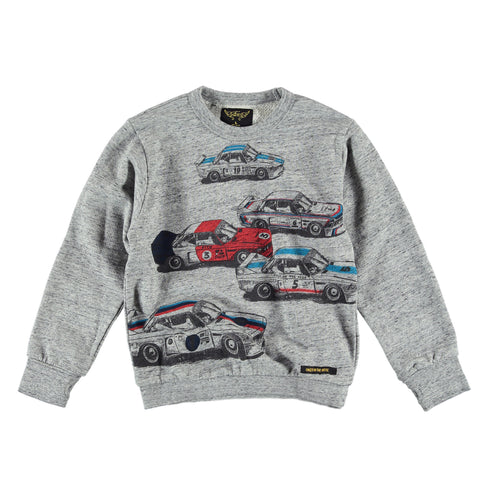 BRIAN Heather Grey Racers - Boy Crew Neck Sweatshirt