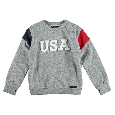 BRIAN Heather Grey USA - Boy Crew Neck Sweatshirt