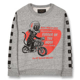 BRIAN Heather Grey Cool Cat - Crew Neck Sweatshirt 1
