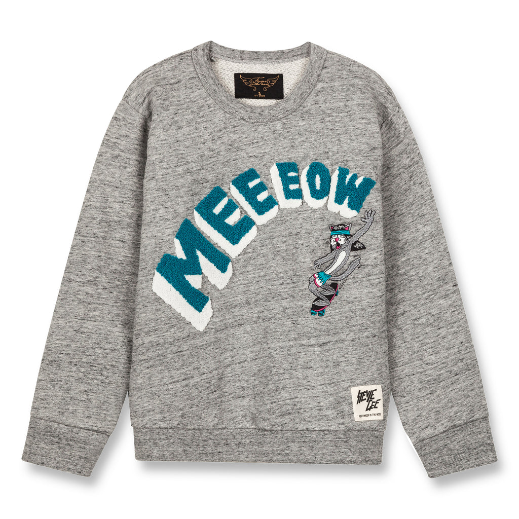 BRIAN Heather Grey Meow - Crew Neck Sweatshirt 1