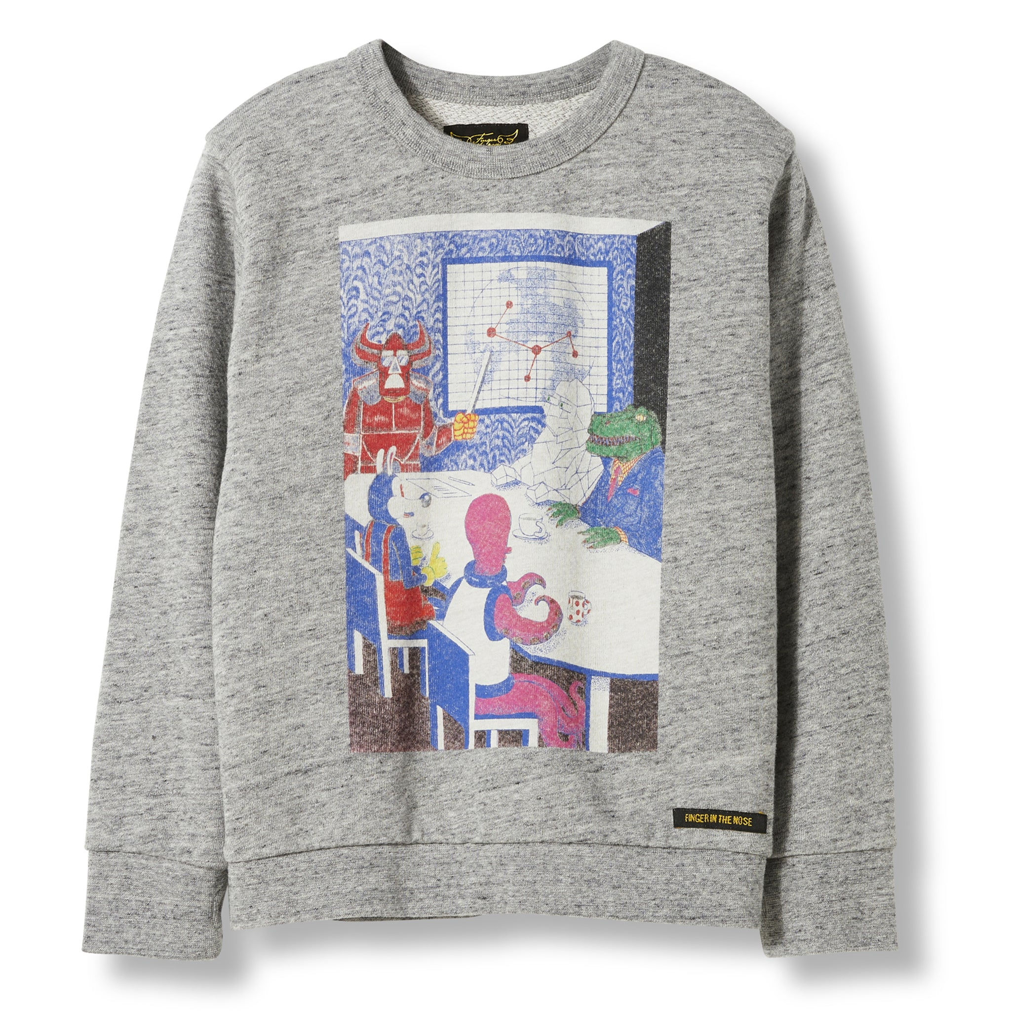 BRIAN Heather Grey Monster Plan -  Knitted Crew Neck Sweatshirt 1