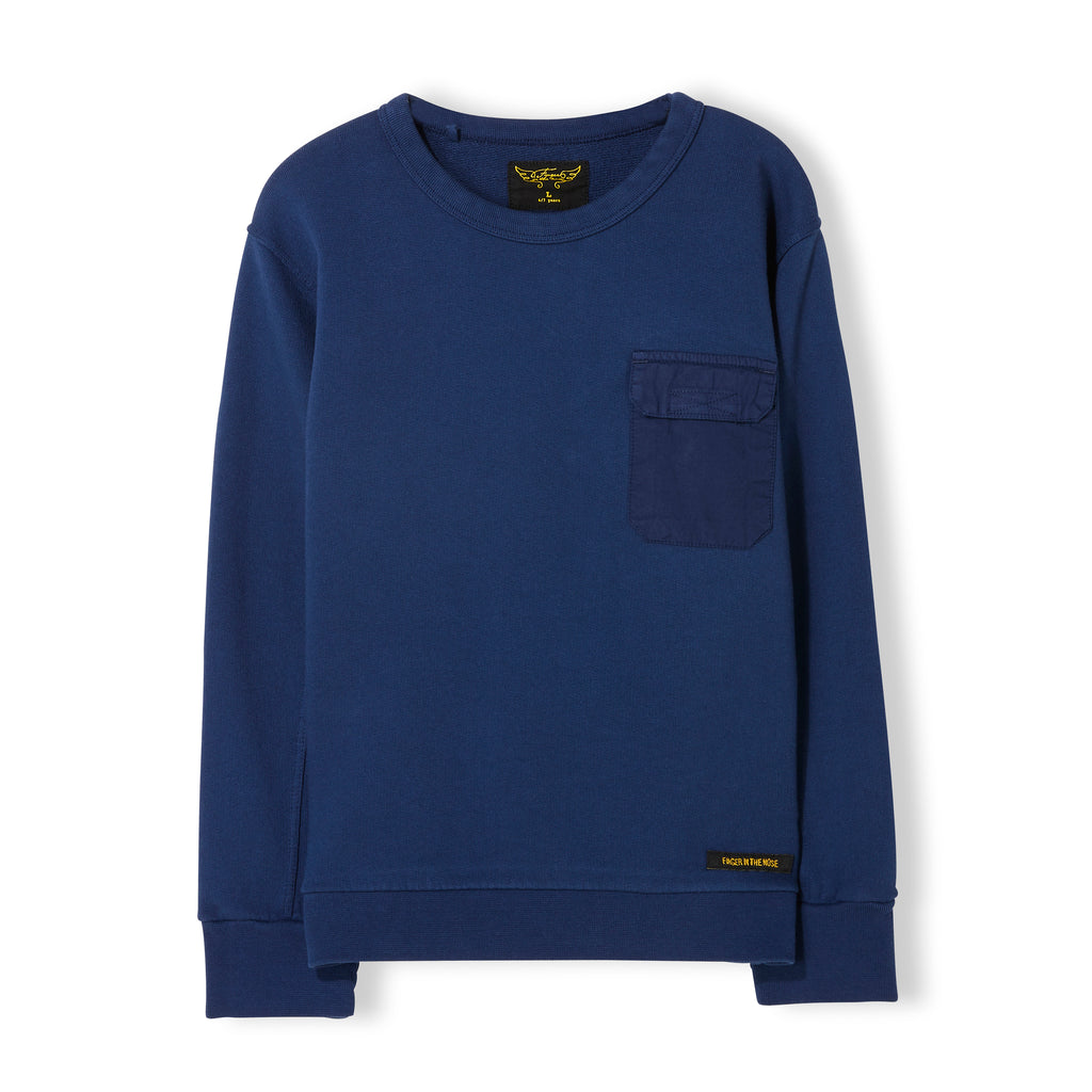 BRIAN Indi Blue - Boy Knitted Crew Neck Sweatshirt 1