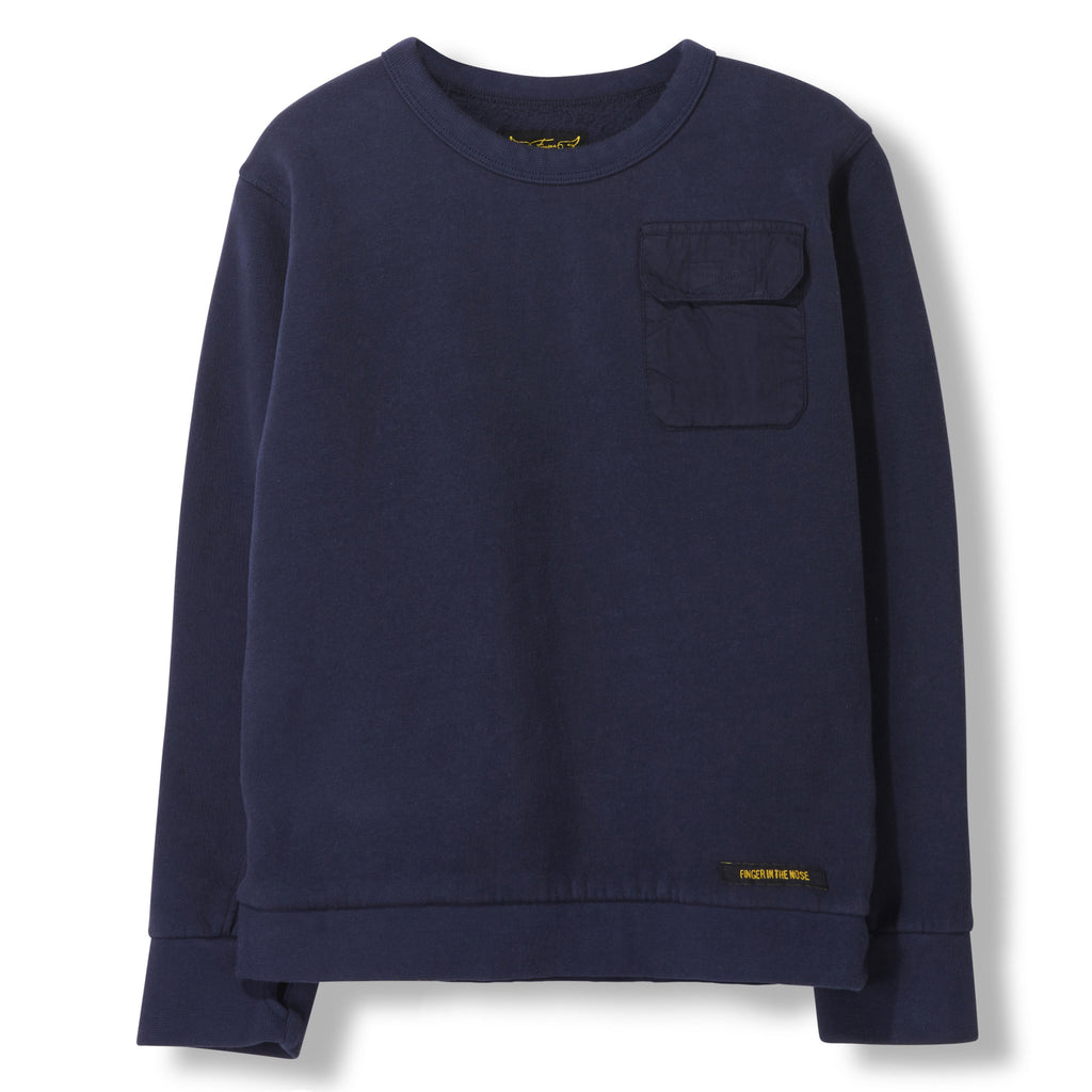 BRIAN Night Blue -  Knitted Crew Neck Sweatshirt 1