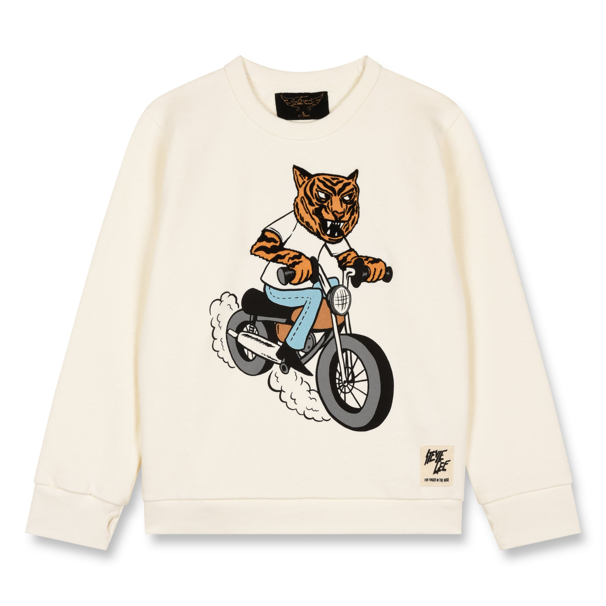 BRIAN Off White Moto Tiger - Crew Neck Sweatshirt 1