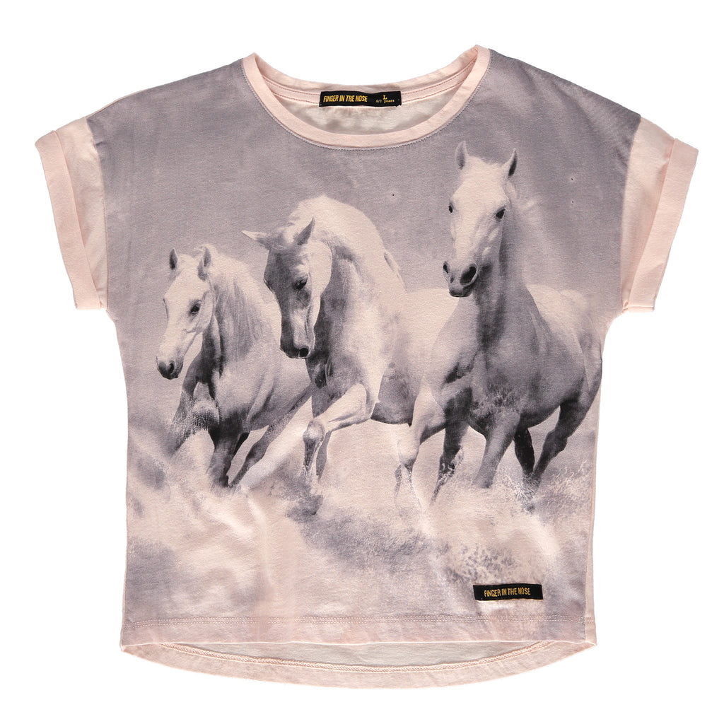 BRITNEY Pale Rose Horses - Girl Short Sleeve T-Shirt