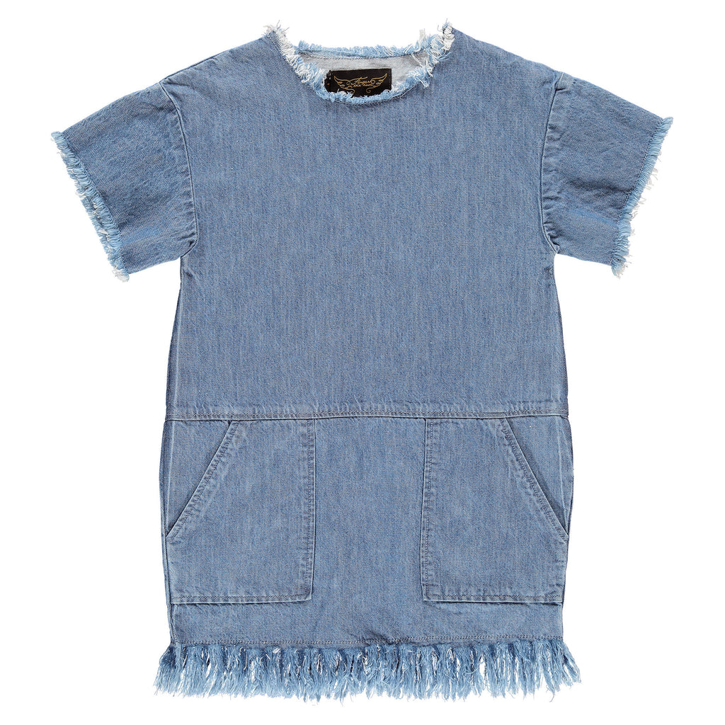 BUBBLE Blue Denim - Girl Denim Dress