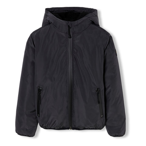 BUCKLEY RAIN Ash Black - Boys Woven Zipped Rain Stop Hoody