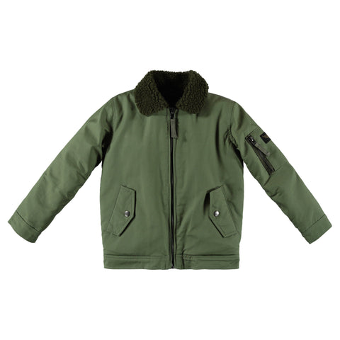 BUSTER Army Green -  Boys Woven Bomber Jacket