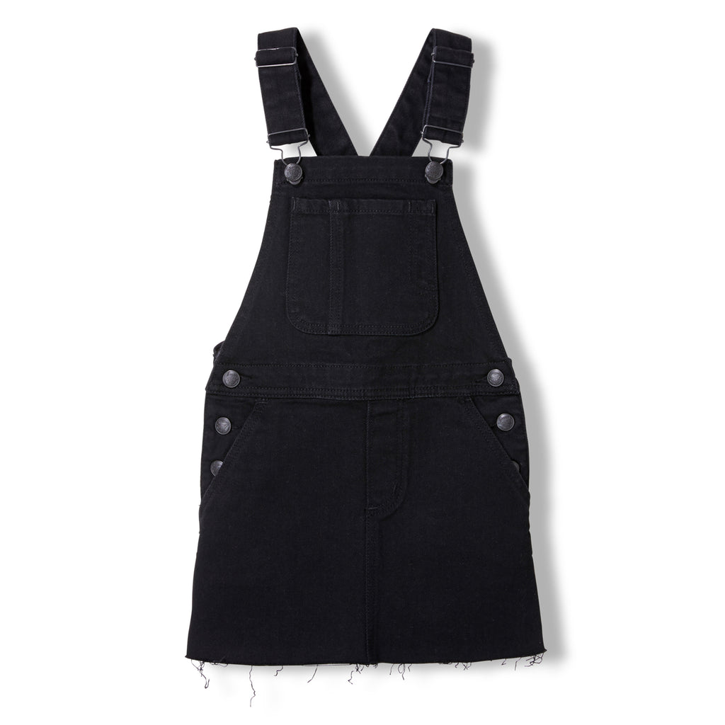 CHERRY Black Denim Raw Edge -  Woven Overall Dress 1