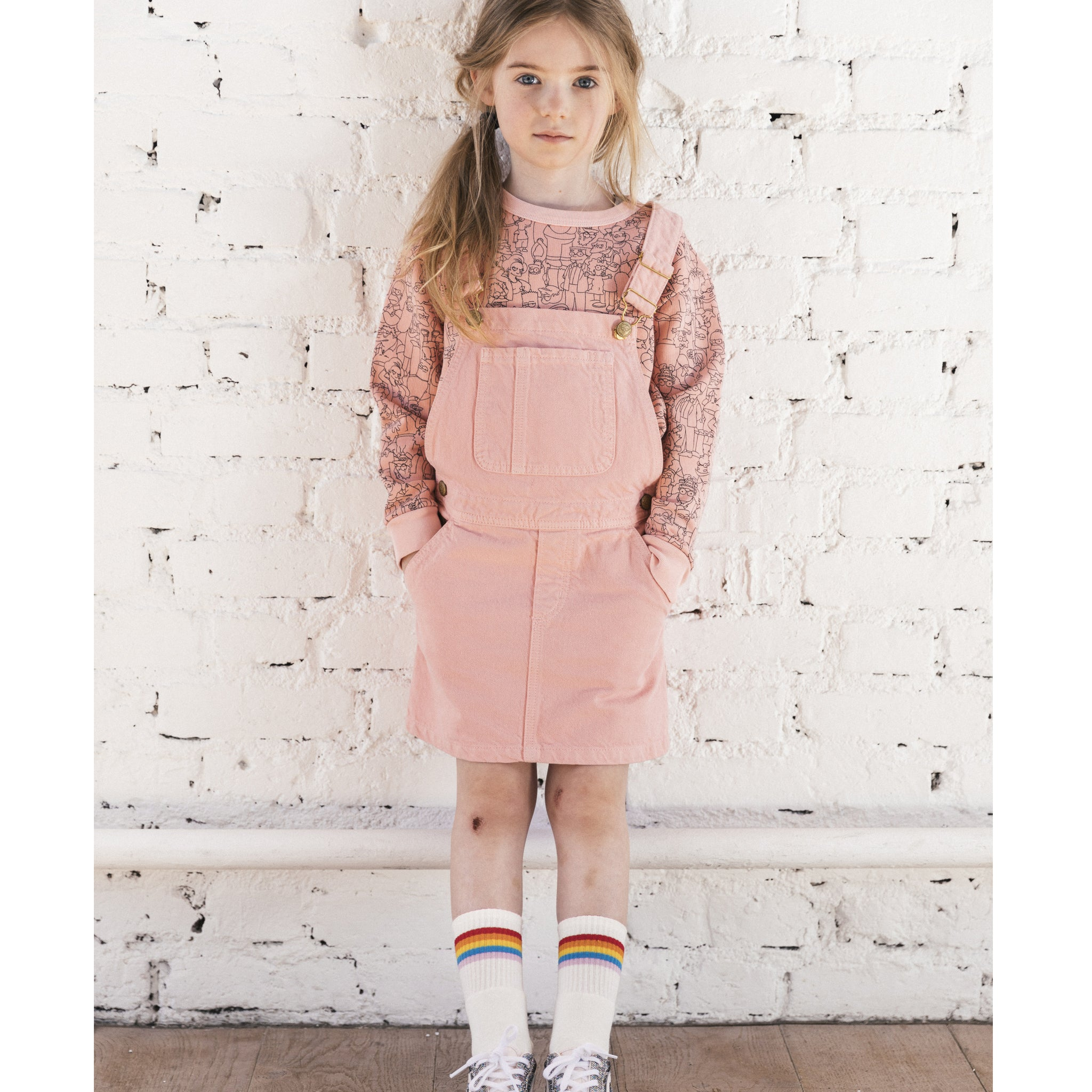 CHERRY Milky Pink - Girl Woven Overall Dress 2 js-nozoom