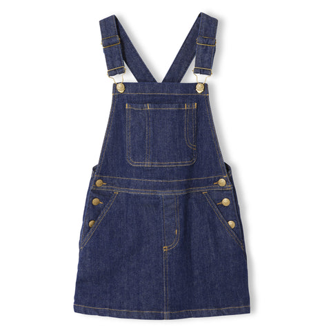 CHERRY Raw Denim Blue - Girl Woven Overall Dress 1