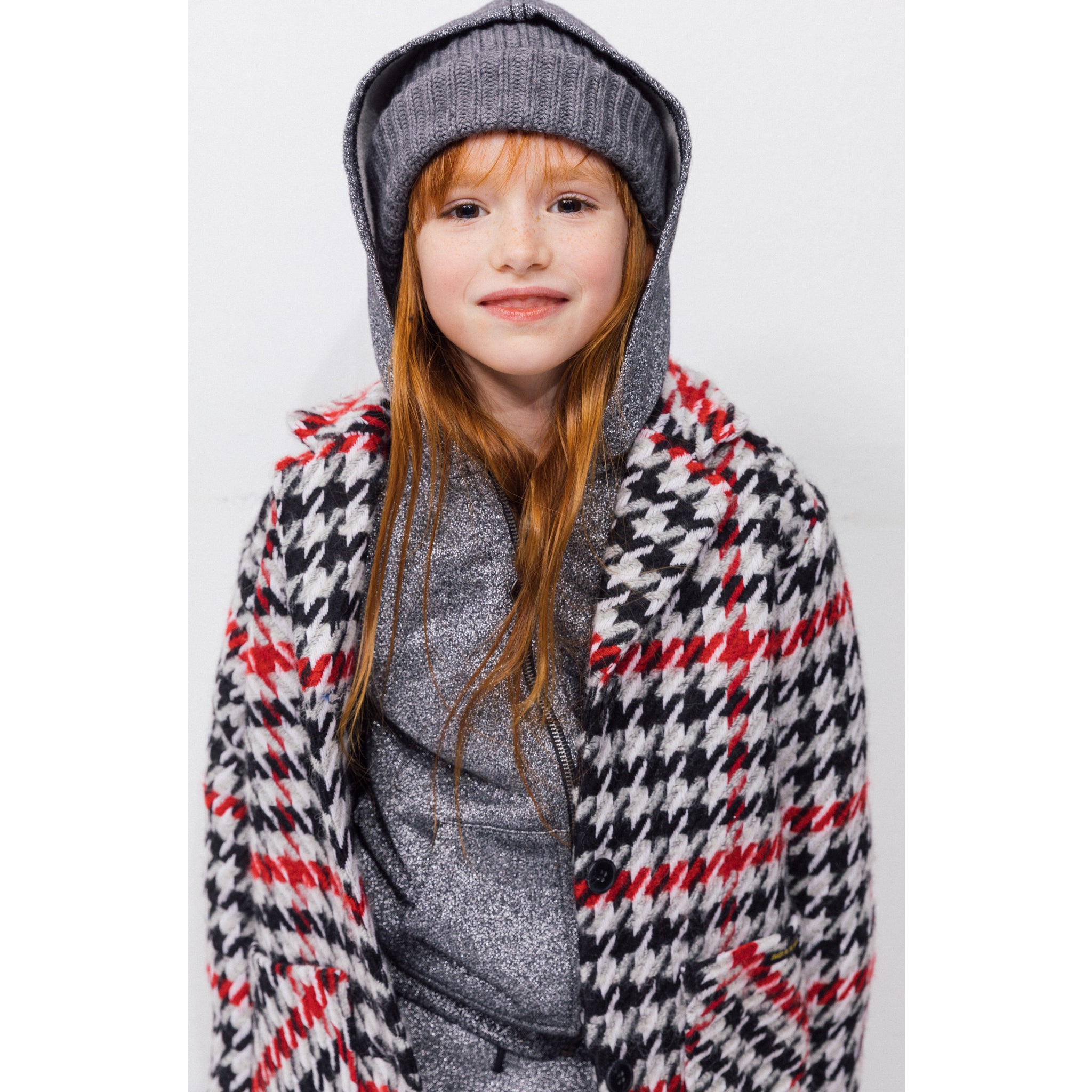 CHRISTY Multicolor Checkers -  Woven Oversized Coat 2