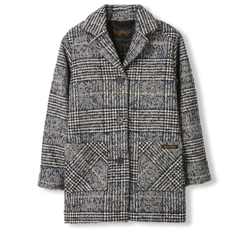 CHRISTY Navy Houndstooth -  Woven Oversized Coat 1