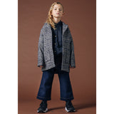 CHRISTY Navy Houndstooth -  Woven Oversized Coat 2