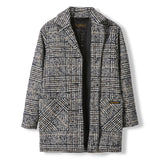 CHRISTY Navy Houndstooth -  Woven Oversized Coat 3