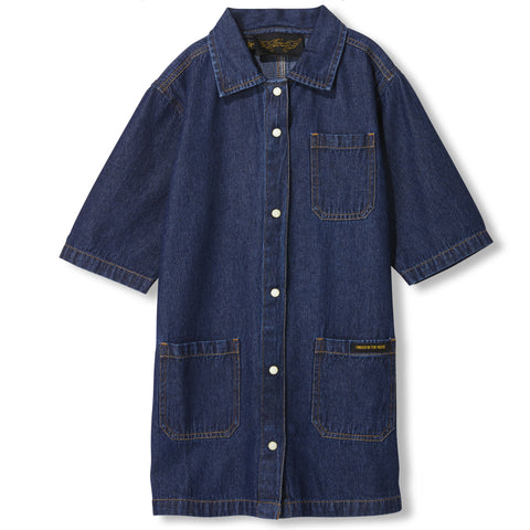 CRESTON Blue Denim -  Woven Short Sleeve Dress 1