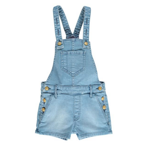 YUMI Super Bleached Blue - Girl Denim Short Overall
