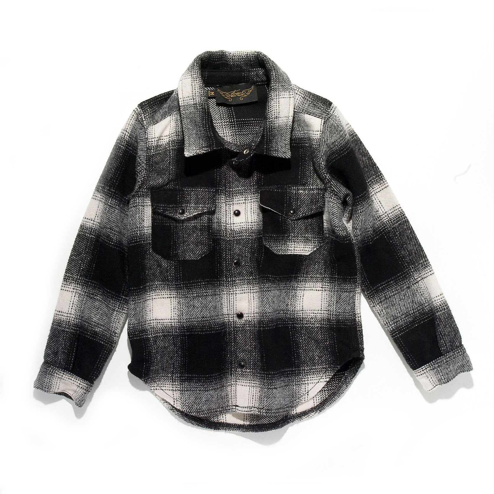 COOPER Black Checker - Long Sleeve Wool Shirt
