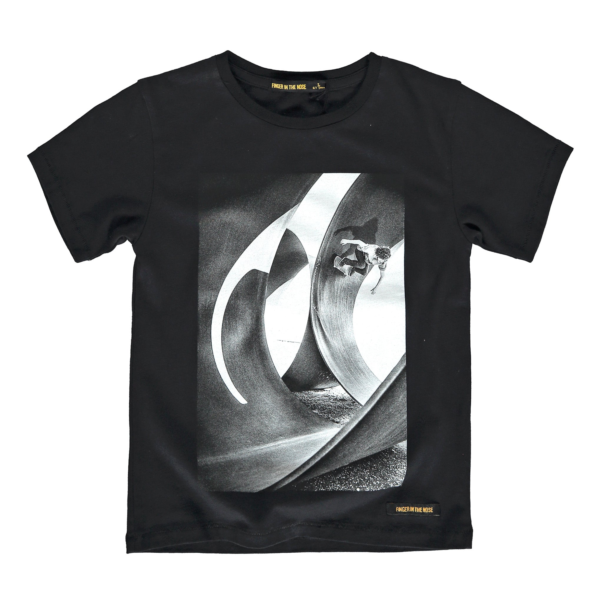 DALTON Black Skatepipe - Boy Knitted Jersey Short Sleeve T-Shirt