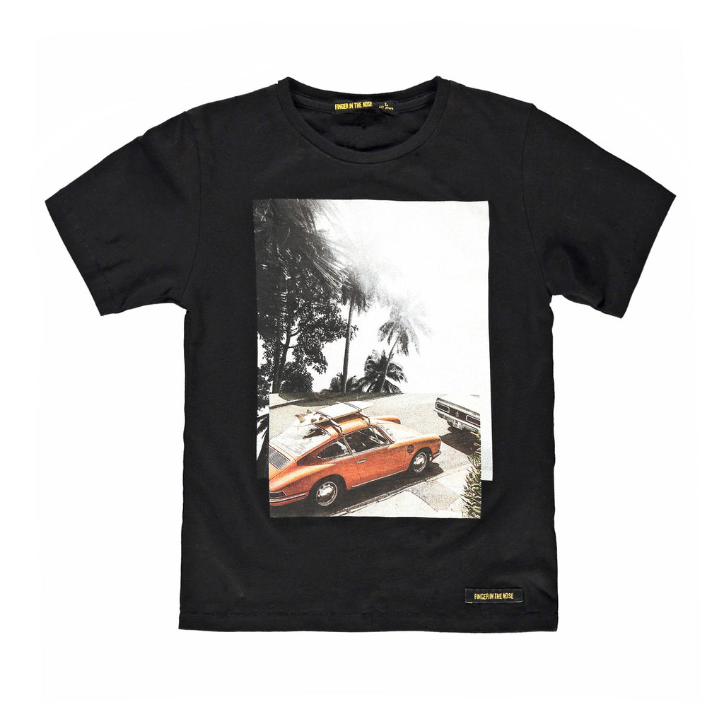 DALTON Black Surf Car - Boy Jersey Short Sleeves T-Shirt