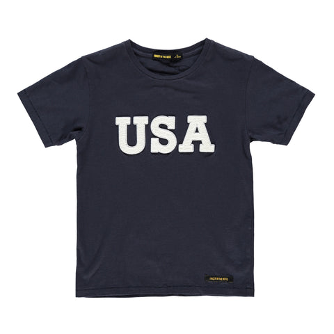 DALTON Super Navy USA - Boy Jersey Short Sleeves T-Shirt