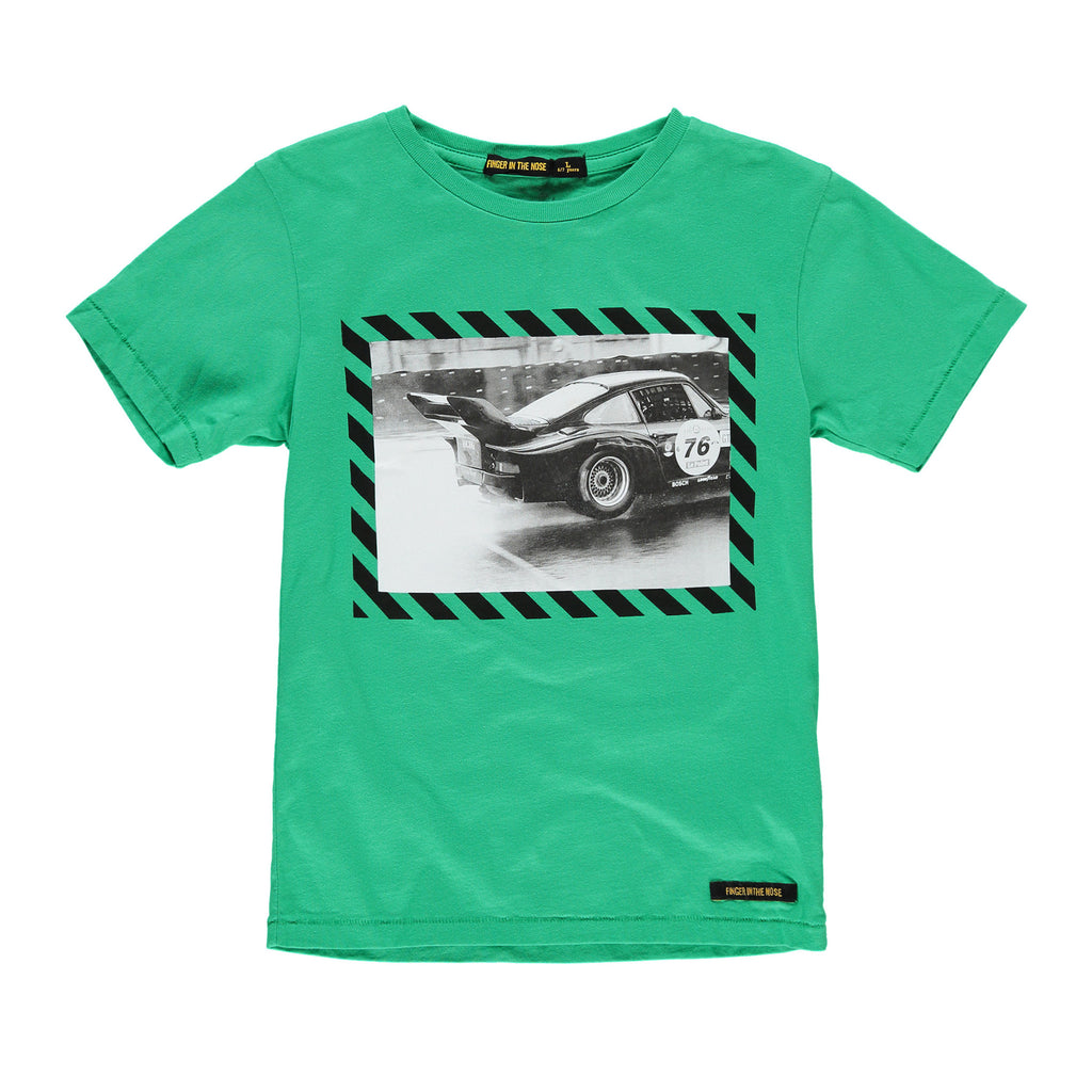 DALTON Track Green Black Race - Boy Jersey Short Sleeves T-Shirt
