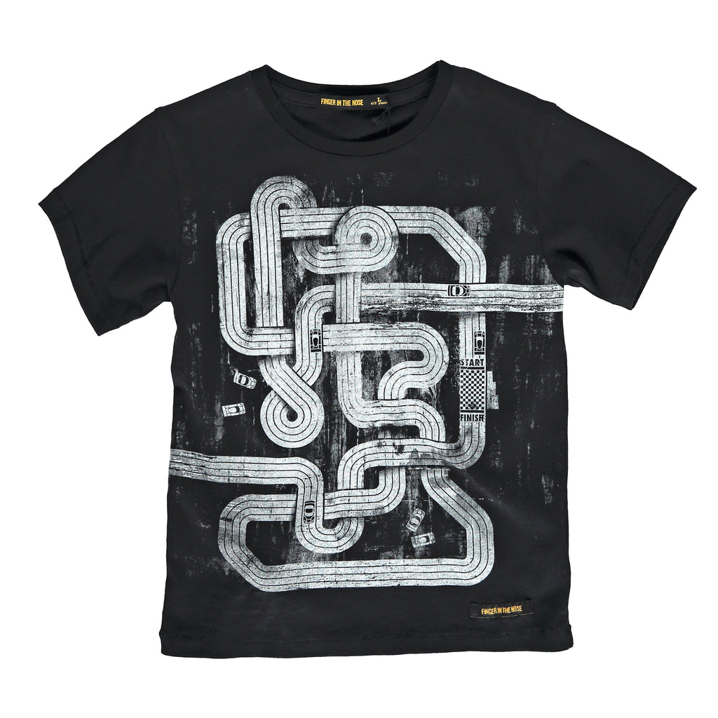 DALTON Black Slot Track - Boy Knitted Jersey Short Sleeve T-Shirt
