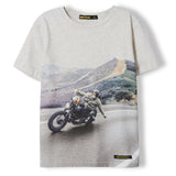 DALTON Heather Ecru Biker - Boy Knitted Jersey Short Sleeve T-Shirt 1