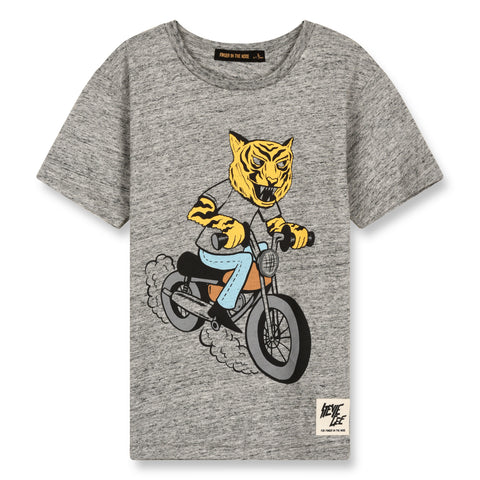 DALTON Heather Grey Moto Tiger - Short Sleeves T-Shirt 1