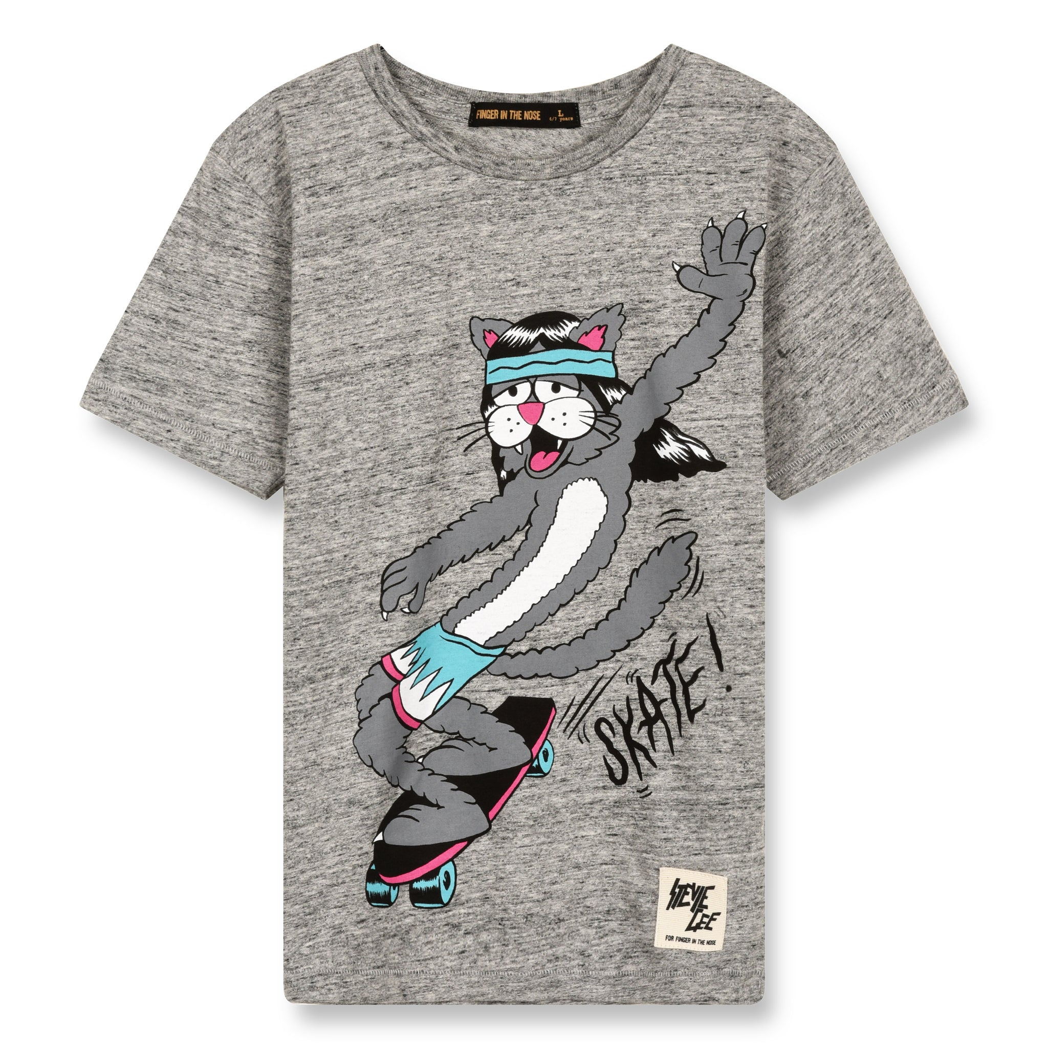 DALTON Heather Grey Skate Cat - Short Sleeves T-Shirt 1
