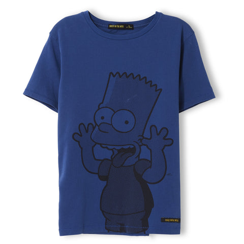 DALTON Indi Blue Funny Bart - Boy Knitted Jersey Short Sleeve T-Shirt 1