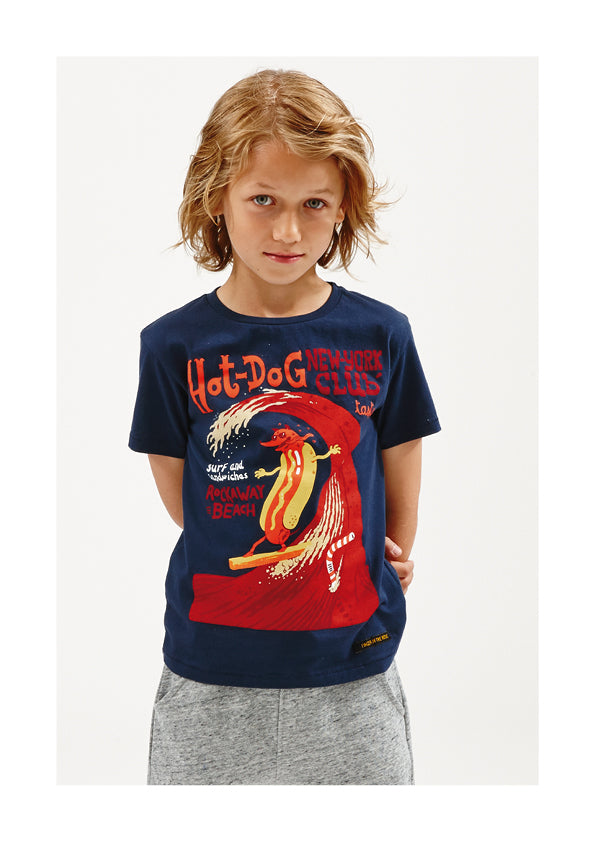 DALTON New Navy Hotdog - Boy Knitted Jersey Short Sleeve T-Shirt